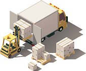 Vector isometric forklift loading box truck with crates on pallets