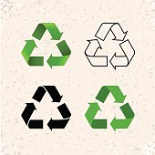 Circular arrows, vector recycle icons isolated on white