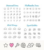 Vector linear icons set, cloud storage, speech bubles, multimedia for