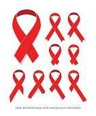 Set Awareness red vector ribbon, symbol of AIDS memorial day