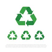 Set of four flat isolated vector recycle symbols, icons