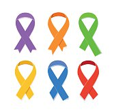 Awareness colorful vector ribbons, symbol of AIDS candlelight memorial day