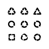 Set vector signs of recycling, arrow icons isolated on white