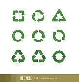 Set flat green vector signs of recycling, arrow icons isolated