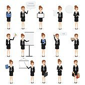 set of business woman with job at office character.