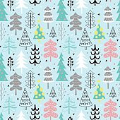 Christmas tree seamless pattern background design with hand draw