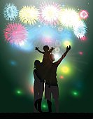 Fireworks Party.Silhouette family.