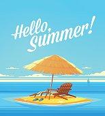Summer Holidays background. Beach umbrelllas on the seashore.