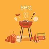 Illustration of a barbecue outdoors