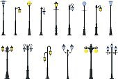 Set of different types of street lamps. Vector illustration.