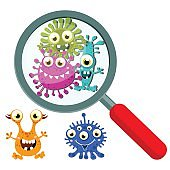 Magnifying Glass look through Germ, Bacteria, Virus, Microbe, Pathogen Characters.