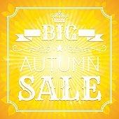 Autumn sale vector illustration in modern elegant style. Sunny pattern.