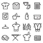Laundry Thin Line Icons