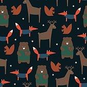Cute forest animals seamless pattern on dark background.