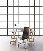 Workplace in loft