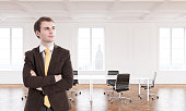 Businessman in new office