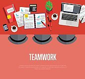 Teamwork concept. Top view workspace background