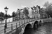 Amsterdam canal lantern BW