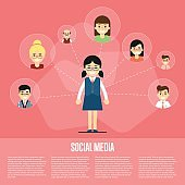 Social media banner with connected people