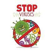 Cartoon viruses characters isolated vector