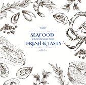 vector seafood designer template set - shrimp, crab, lobster, salmon