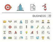Business and management color vector icons