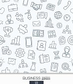 Business strategy wallpaper. Black and white marketing seamless pattern