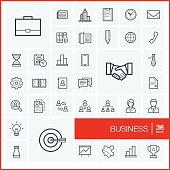 Vector thin line business icons set and graphic design elements.