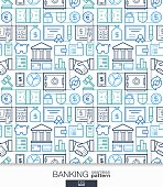 Banking and finance wallpaper. Bank seamless pattern