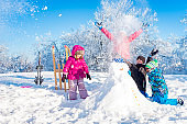 Children having fun in winter