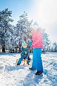 Children having fun in winter