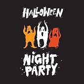 Happy halloween poster, banner, fly-er. Lettering, calligraphy, lino-cut.