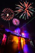 Colorful fireworks,Kanchanaburi