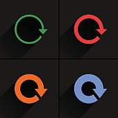 Color arrow refresh, rotation, reset, repeat icon
