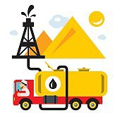 Vector Arab Oil Industry. Delivery Vehicles. Flat style colorful Cartoon