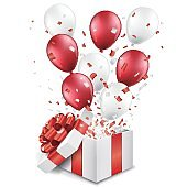 Surprise open gift box with balloons and confetti