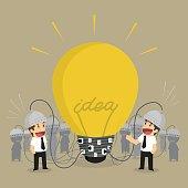 businessman teamwork brainstorm idea light bulb