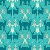 Vector seamless Christmas pattern with deer.