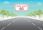 Road sign with speed limit on highway.