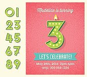Birthday card or invitation with set of lighted retro numbers.