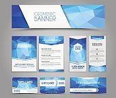 Set of blue corporate style polygonal