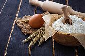 Baking ingredients egg, flour, rolling pin