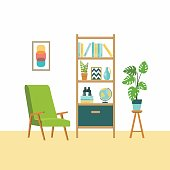 Home furniture. Vector flat illustrations.