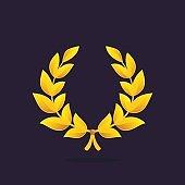 Gold award laurel wreath icon.