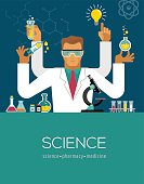 Multitasking Scientist making research