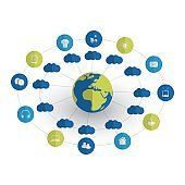 Cloud Computing, Internet Of Things Design Concept With Icons