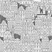 Seamless pattern of Czech houses