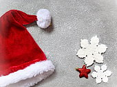 Christmas grey background with Santa hat.Happy new year