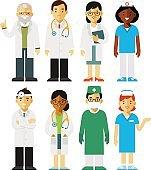 Medicine set with doctors and nurses