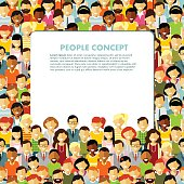 Modern multicultural society concept with seamless people background